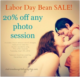 LABOR DAY BEAN SALE- sabrina bean photography